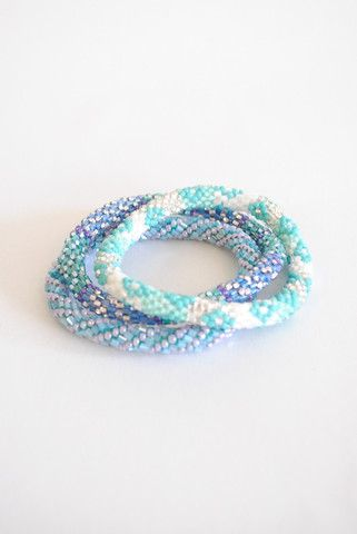 Blue green Lily and Laura bracelets