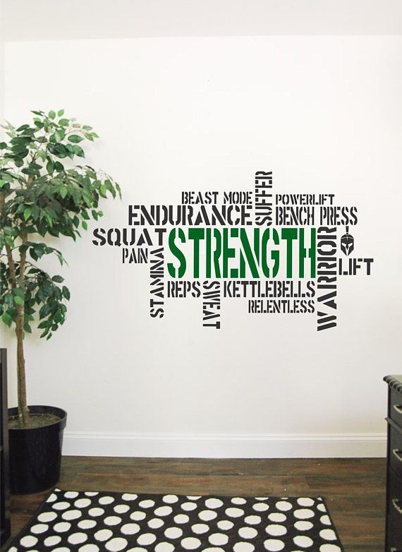 Wallency Motivational Gym Wall Decal Fitness Words Removable Etsy Gym Wall Decal Motivation Wall Gym Decor