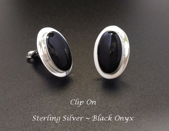 Clip On Earrings Australia   Affordable Quality Clip-On Earrings Classy Clip On Earrings, Sterling Silver with Black Onyx, 357 [ClipOn_357] - Classic Sterling Silver Clip-On Earrings with Black Onyx Gemstone in a 925 Silver setting - Beautiful Silver Earrings Button Style. # Dimensions: These earrings measure 18mm x 12mm - 3/4 inch x 1/2 inch oval shape. As these earrings are handmade the dimensions are approximate. # Materials used in making these earrings; ●
