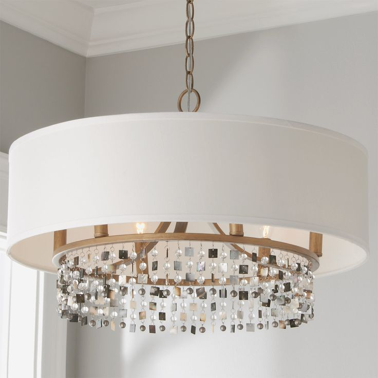 Shell And Crystal Drum Shade Chandelier In 2021 Drum Shade Chandelier Drum Chandelier Drum Shade