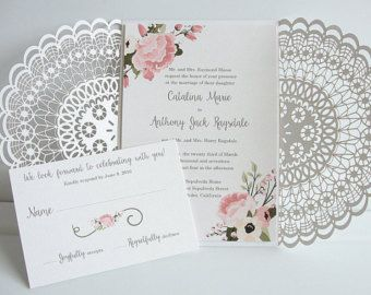 Invitación de boda del corte del laser corte por LavenderPaperie1