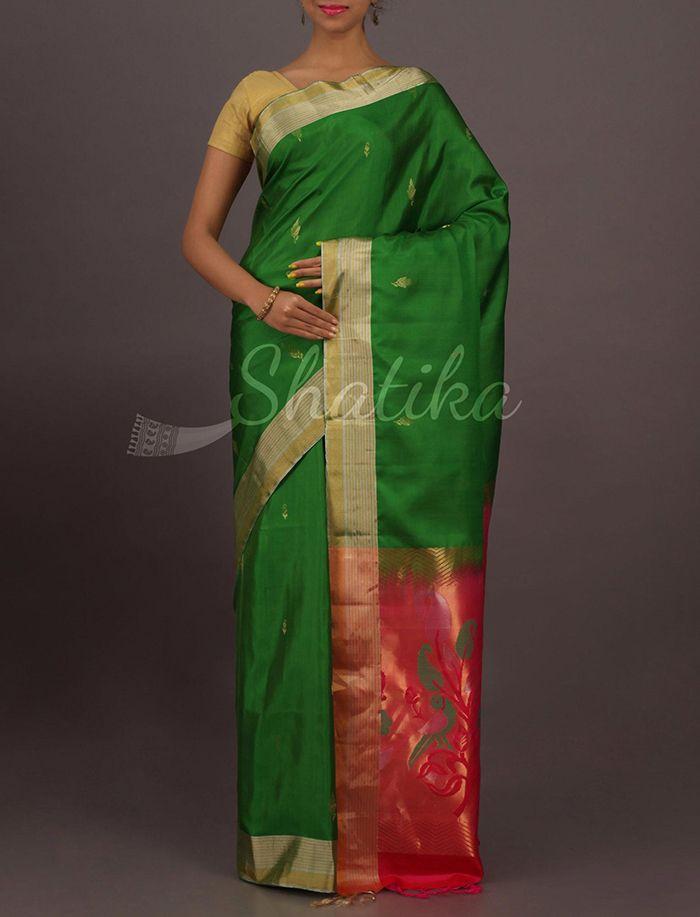 Puja Fresh Green Contrast Ornate Pallu Classy Pure #UppadaSoftSilkSaree