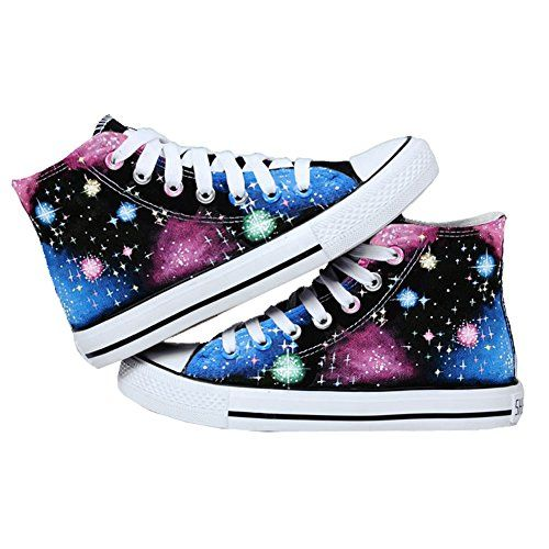 Bopstyle Starry Sky Shoes Canvas Shoes Hand-painted Sneakers (Female Size 6/Male Size 4.5, Bright Stars)