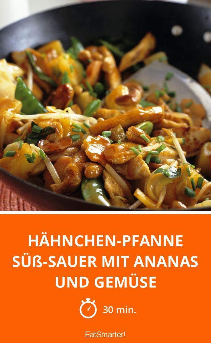 Hähnchen-Pfanne süß-sauer mit Ananas und Gemüse