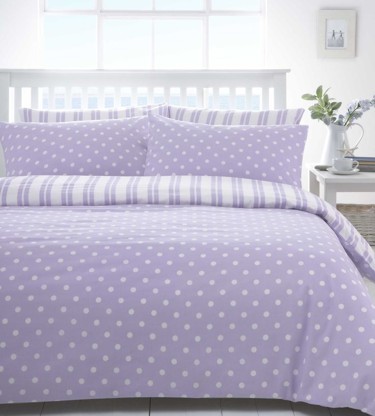 Lilac & White Polka Dot Spot Discount Bedding Sets / Bed Linen | eBay $31.00