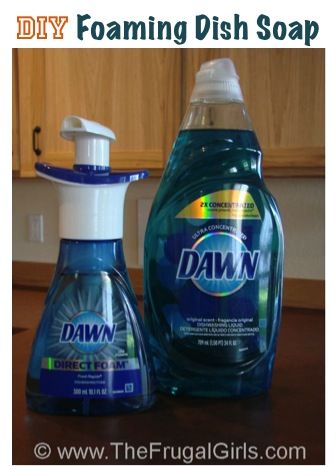 DIY Foaming Dish Soap Trick! ~ from TheFrgualGirls.com ~ this simple little tip works like a charm, and is a BIG $$-saver! #kitchen #dishsoap #thefrugalgirls