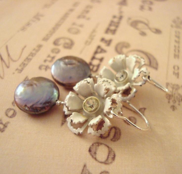 Upcycled Vintage Earrings -- Vintage White Enamel Flowers, Dark Blue Freshwater Pearls, Sterling Silver