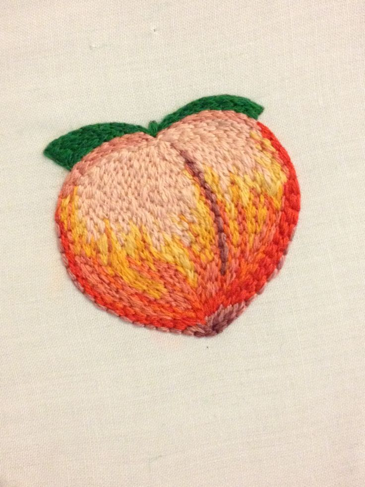 phoneywallflower:  embroidered peach emoji