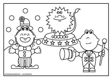 Lola als jongelerende clown en Frokkie als circus directeur met een lieve leeuw op de achtergrond.