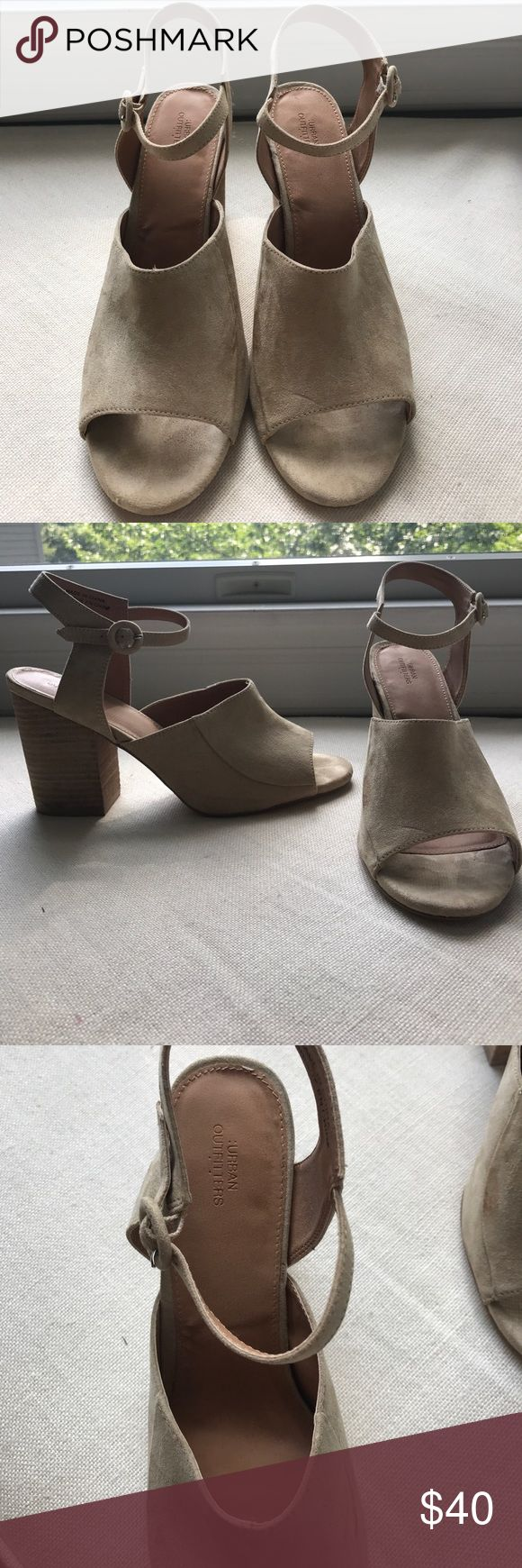 Selling this Urban Outfitters Tan Suede Heels on Poshmark! My username is: kaylacostello. #shopmycloset #poshmark #fashion #shopping #style #forsale #Urban Outfitters #Shoes