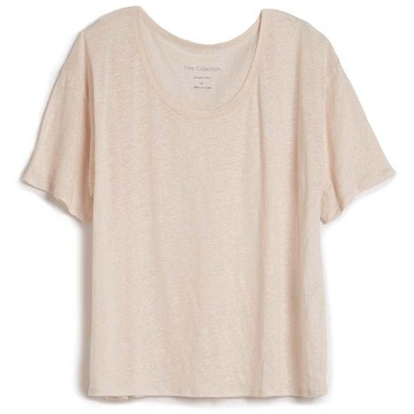 Fine Collection Linen Baggy Tee (€90) ❤ liked on Polyvore featuring tops, t-shirts, shirts, tees, t shirts, relax t shirt, linen shirt, short sleeve shirts and linen tops