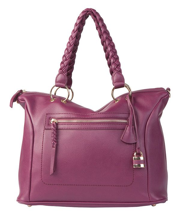 Look at this lupoluna Purple Braid-Handle Satchel on #zulily today!