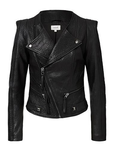 SEED Collection 100% Zipper Leather Jacket. Neat fitting silhouette features a double breasted front body, slim panelled sleeves with shoulder pad inserts, exposed zippers at pockets complete with Silver square studs on pull tabs. Available in Black as shown.