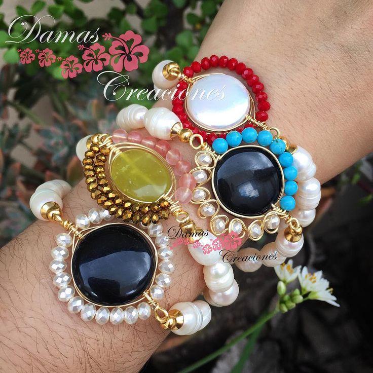 #damascreaciones #pulseras #alambrismo #perlas  Nos encantan estas pulseras..!!!  Whatsapp: ...