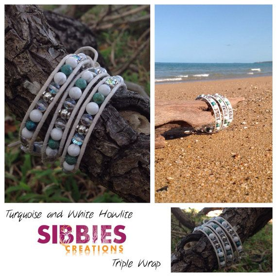 Turquoise and White Howlite triple leather by SibbiesCreations