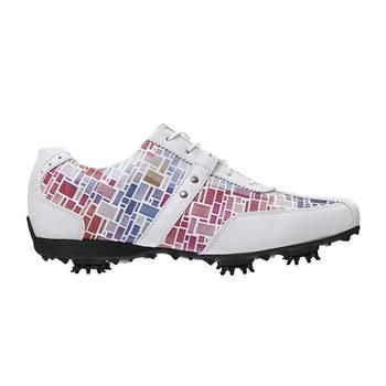 From early season sales this is set to be our best selling Womens Golf Shoe in 2014 The Stunning Footjoy Ladies Lopro Golf Shoe in White/Multi Colour Mosaic