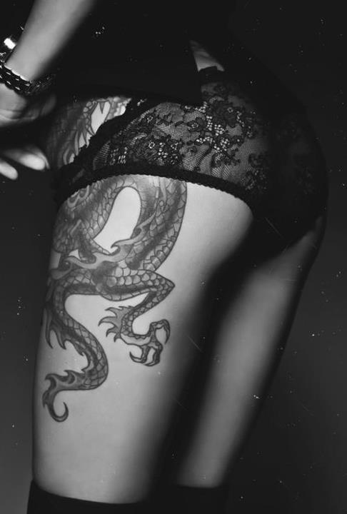 Dragon on thighs and hips #tattoo #inked #girl #sexy