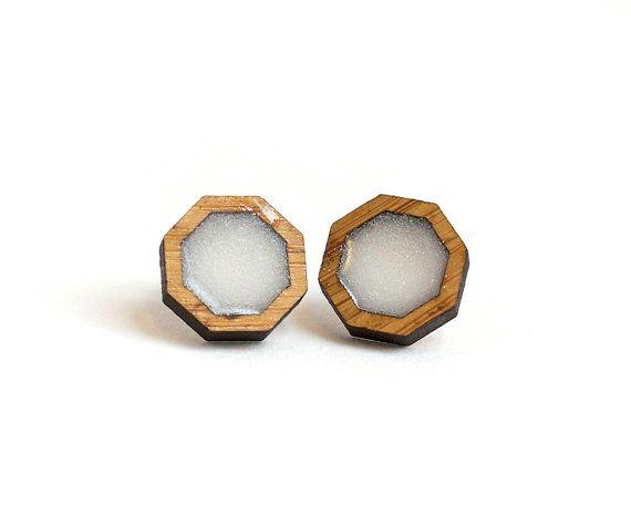 Octagon Resin Earrings White Resin Earrings by HeartoftheHeart