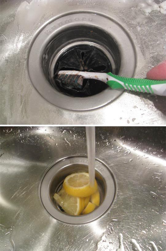 Don't forget the disposal! | 37 Ways to Give Your Kitchen a Deep Clean