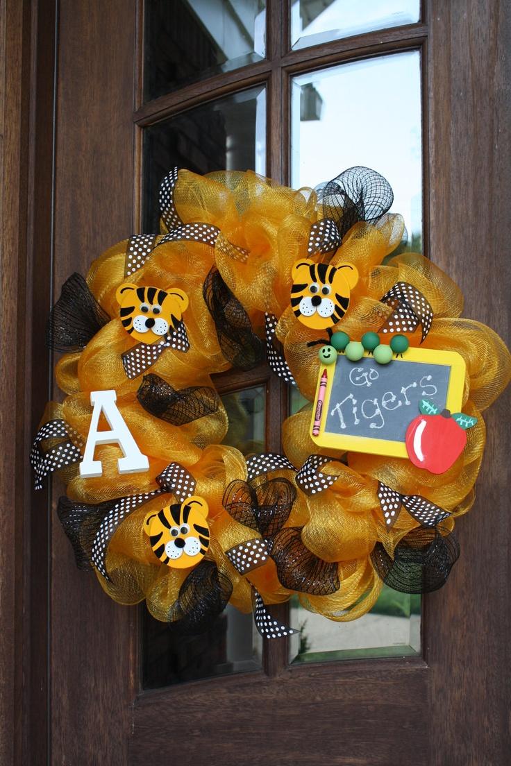 "Mesh Tiger School Spirit Door Wreath 24"". $90.00, via Etsy.  Green/White"