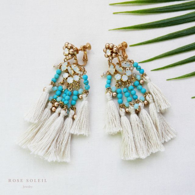 Rose Soleil Jewelry Tropical Sky Collection | ローズソレイユジュエリー ✧ クリスタルタッセルイヤリング ✧ トロピカルスカイコレクション