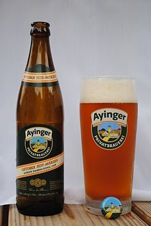 "Oktober Fest-Märzen - ""Rich, golden color. Slightly sweet, malty nose. Medium to big body and alcohol. Soft dryness from long maturation."" Ayinger Brewery, Aying, Germany (500ml 5.8%) September 2014"