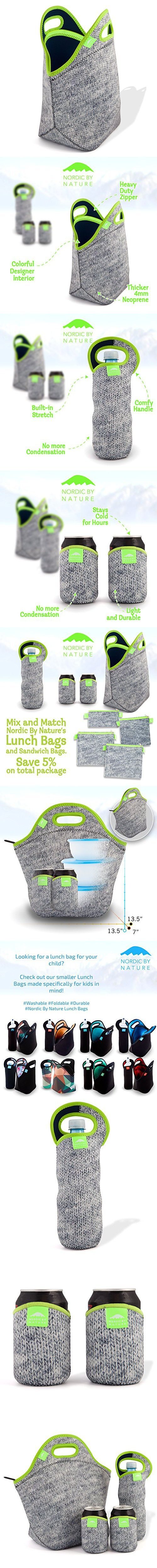 """Nordic by Nature Extra Big Insulated Large Neoprene Lunch Bag Set: Tote + Bottle Cooler + 2 Can Insulators   13,5""""   Stretchy   Reusable   Washable   Great For Lunchboxes & Snacks   Grey & Neon Green"""