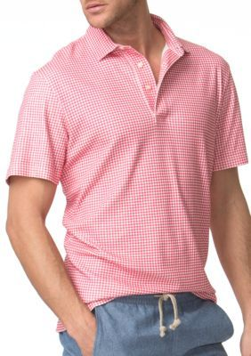 Chaps Raspberry Sherbet Gingham Cotton Polo Shirt