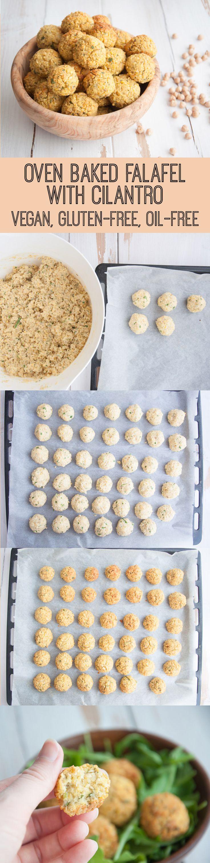 Vegan Oil-Free Oven Baked Falafel with Cilantro #recipe #dinner