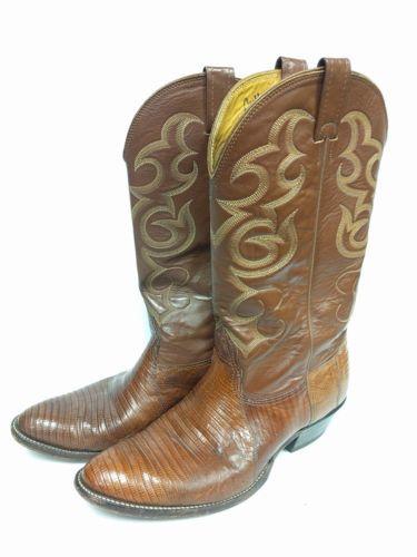 NOCONA Men's Cowboy LIZARD SKIN Leather Tan Vintage Boots Size 10 D Medium USA