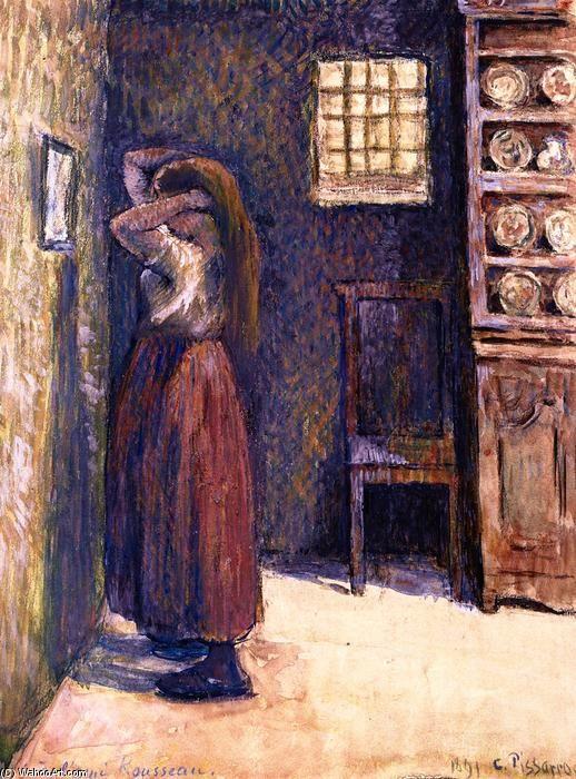 jovem camponesa ajeitando o cabelo, pintura a óleo por Camille Pissarro (1830-1903, Ilhas Virgens)
