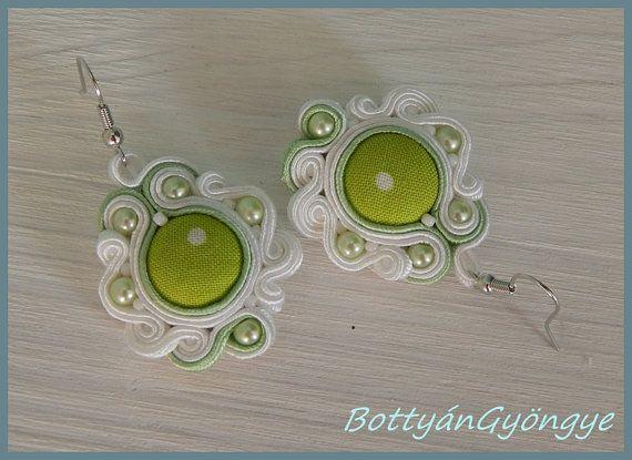 Snowdrop asymmetric soutache earrings  simple by BottyanGyongye