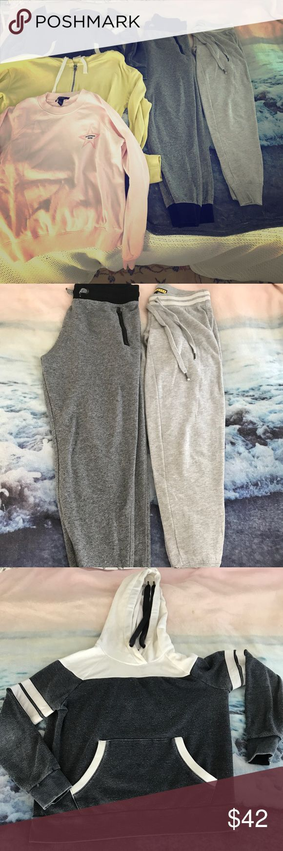 3 Hoodies and 2 joggers ! Dark grey joggers- H&M small ; Light grey joggers- Prince &a Fox xsmall; pink hoodie- Forever 21 small; yellow zip up hoodie- Abercrombie & Fitch Medium; Blue and white Hoodie- Forever 21 small Forever 21 Other