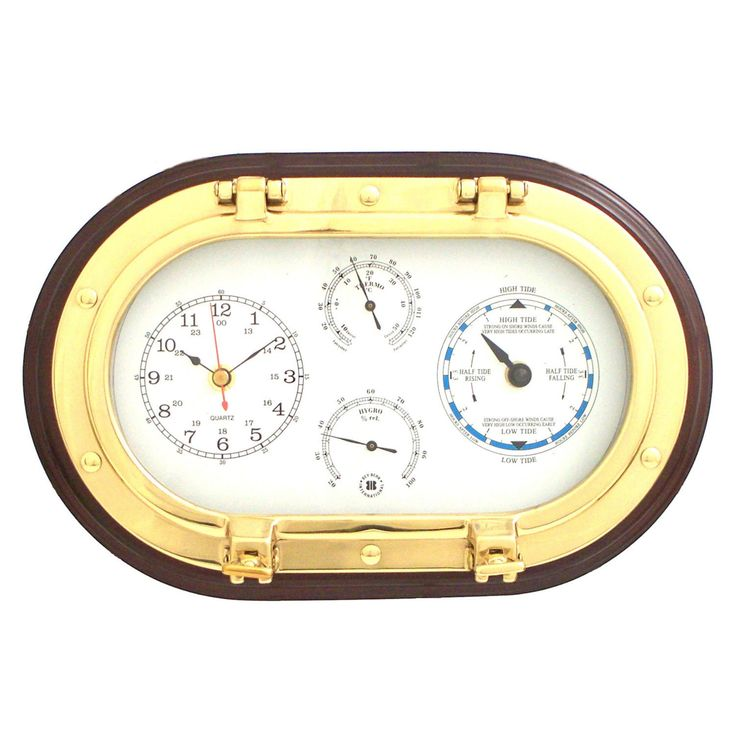 Bey-Berk International Brass Porthole Tide and Time Clock, Thermo., and Hygro on Mahogany T.P. - SQB579