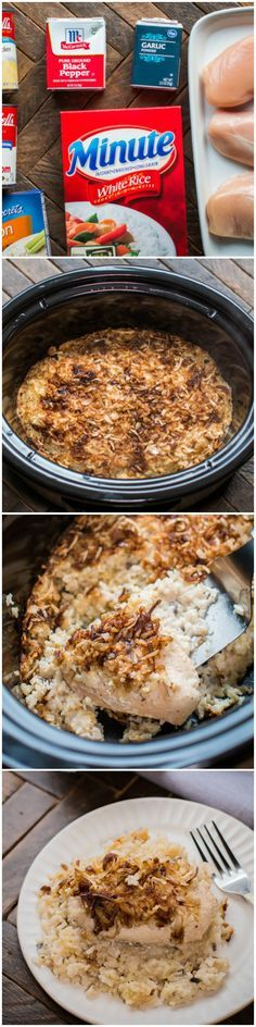 Slow Cooker No Peek Chicken. This vintage meal has creamy chicken and rice and is topped with onions.