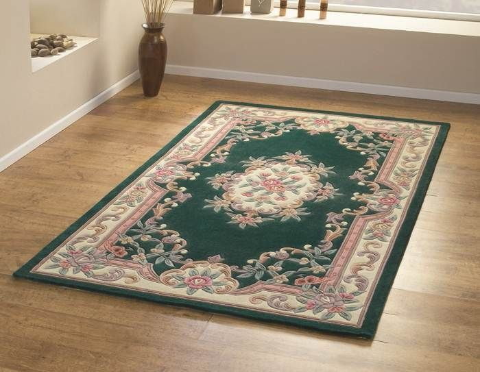 Lotus Premium Aubusson Bottle Green Rug