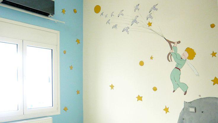 Μικρός πρίγκιπας. Ζωγραφική στον τοίχο σε δωμάτιο νεογένννητου. Δείτε περισσότερες ιδέες διακόσμησης για το παιδικό ή βρεφικό δωμάτιο στη σελίδα μας  www.artease.gr