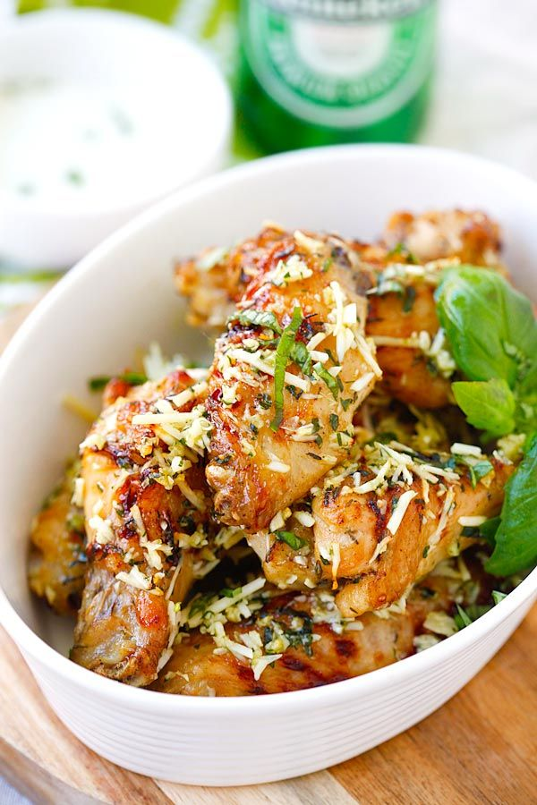 Baked Parmesan Garlic Chicken Wings - best and easiest baked chicken wings EVER with parmesan, garlic, basil, and spices, with blue cheese mustard dressing   rasamalaysia.com