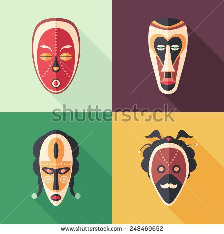 Set of colorful carnival masks flat icons with long shadows. #flaticons #vectoricons #flatdesign