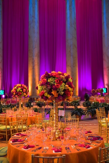 I love the #ambience of this #wedding #reception space. The combination of #orange and #purple is breathtaking.
