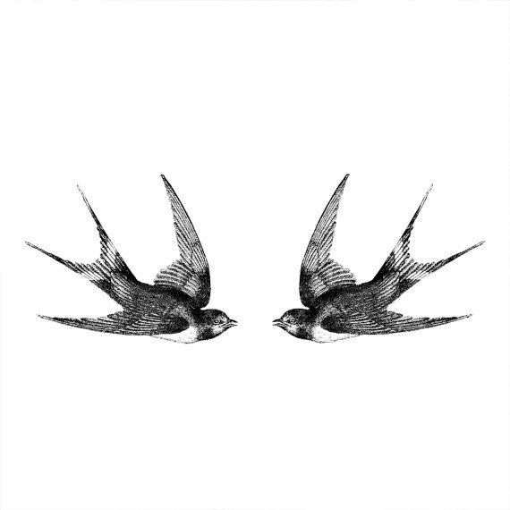 Deux hirondelles Vintage tatouage temporaire motif par ArrowTattoo