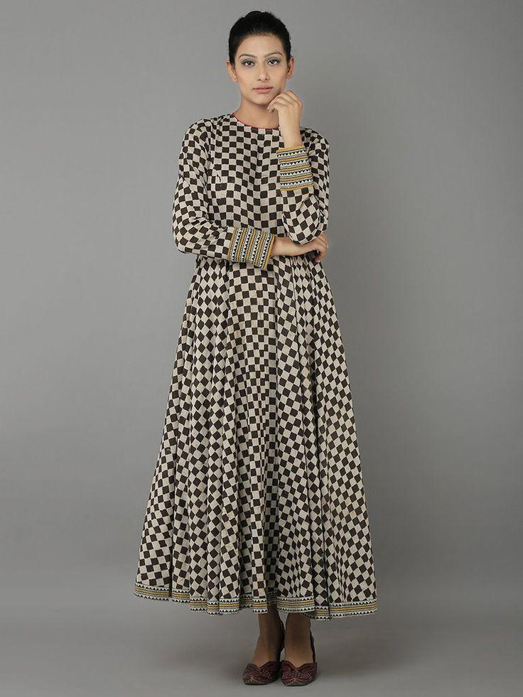 Black Cotton Block Printed Dress