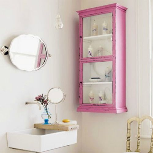 sweet bathroom nook - especially love the little board on the sink and the pink cupboard: Cabinets, Interior, Bathroom Ideas, House, Pink Bathroom