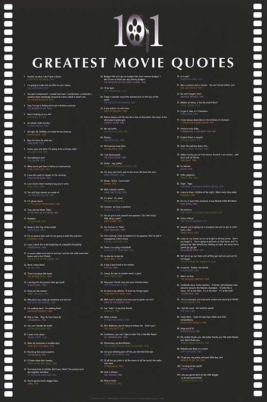 [ 101 GREATEST MOVIE QUOTES POSTER ]