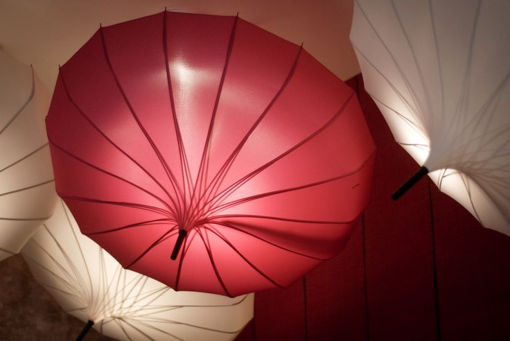 Light up umbrellas give the nail bar a lovely warm glow