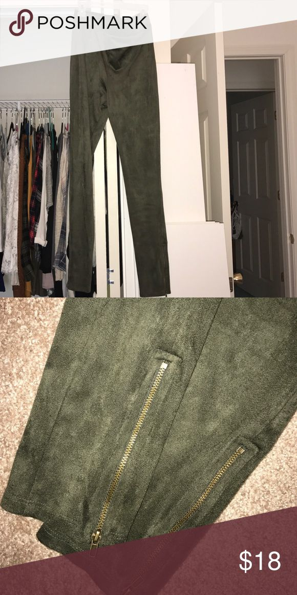 Faux Suede leggings Olive green - suede leggings with zipper ankle detail - never worn took tag off when I got home. Forever 21 Pants Leggings