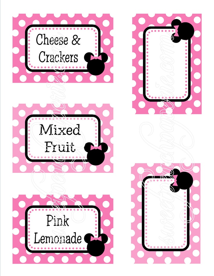 Sweet Minnie Mouse Collection Printable Menu by sweetpeachpaperie