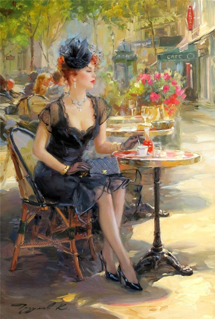 Картинки красивых дам в шляпах в кафе парижа