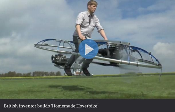 British inventor builds homemade hoverbike
