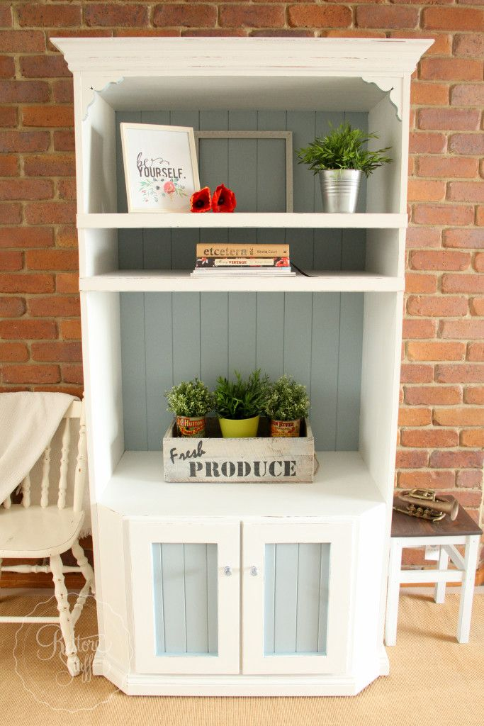 Country Chic hutch painted in Caement and Champness from Fusion Mineral Paint!
